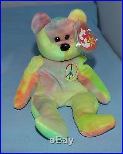 c8fcdd0c5d9 Rare Ty Beanie Baby Peace Bear Original Collectible 1996 Tag Errors ...