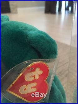 Rare Ty Beanie Baby Teal Old Face Teddy 1st Heart/1st Tush MWSCT
