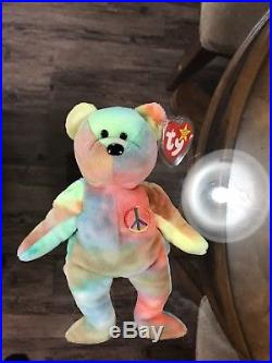 Rare Ty Peace Bear Beanie Baby In Excellent Condition