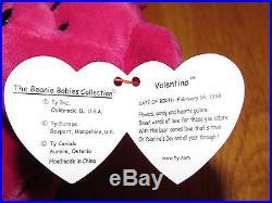 Rare Valentina Bear Retired Ty Beanie Baby Babies with Errors