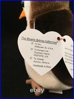 Rare Vintage 1997 TY Beanie Babies Wise Owl with 6 ERRORS MINT CONDITION