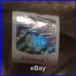 Rare With 3 Errors Vintage 1999 TY Beanie Babies Almond Stuffed Toy Plush Animal