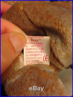 Retired 1999 Ty Signature Bear Beanie Baby RARE errors & no stamp