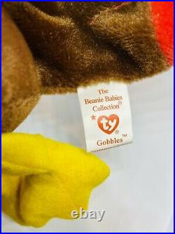 Retired Rare (original) Ty Beanie Baby Gobbles The Turkey 1996 Tag Errors Mint