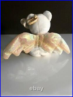 Retired TY HALO Angel Beanie Baby Very Rare with Brown Nose & Errors 1998 NEW MINT