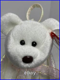 Retired TY HALO the Angel Bear Beanie Baby Very Rare with Brown Nose & Errors 1998