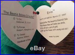 Retired Very Rare Ty Beanie Baby Irish Erin Shamrock 1997 #403