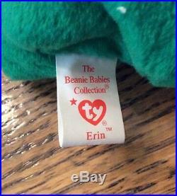 Retired Very Rare Ty Beanie Baby Irish Erin Shamrock Handmade China 1997 #416
