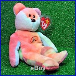 575fd723a9f Super RARE PVC Peace Bear 1996 Retired Ty Beanie Baby MWMT Genuine MAJOR  Errors