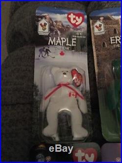 TUSH TAG ERRORS RARE! McDonalds Ty Beanie Babies Maple, Glory, Erin, Britannia