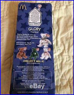 TY BEANIE BABIES, RARE 1997 Retired Glory The Bear McDonalds with Errors