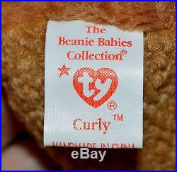 Ty Beanie Baby Curly 1996/1993 Very Rare Collectible Hang Tag Errors