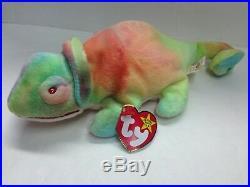 TY BEANIE BABY Rainbow the chameleon October 14th 1997 with error BNWT RARE