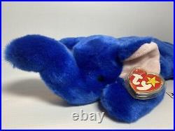 TY BEANIE BUDDY 1998 ROYAL BLUE PEANUT THE ELEPHANT with EAR TAG (ERROR) RARE