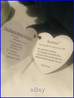 TY Beanie Babies Rare Rainbow Beanie Baby and Iggy The Iguana 1997 Retired ERROR