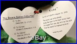 TY Beanie Babies Rare Retired Kicks the soccer bear w Tag Errors PVC 1st Edition