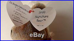TY Beanie Baby 1999 SIGNATURE TEDDY Bear WITH ERRORS IN HANG TAG, RARE, RETIRED
