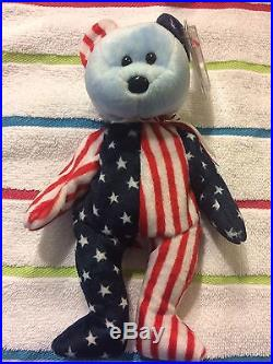 TY Beanie Baby 1999 Spangle Blue Face Rare with Tag Errors