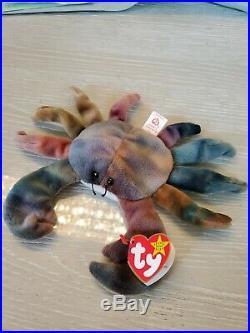 TY Beanie Baby Claude The Crab style 4083 misprint Tag, Fareham very rare mint