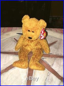 TY Beanie Baby Fuzz the Bear Rare with Errors