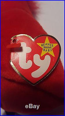 TY Beanie Baby Mac The Cardinal Rare with 3 Errors
