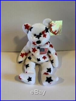 TY Beanie Baby RARE Glory Bear with 1997 Birthdate, 1998 Tush Tag With Errors
