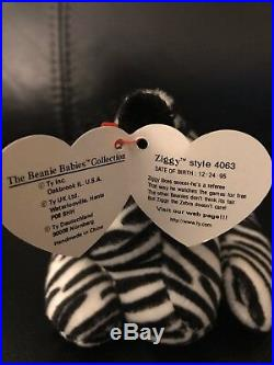 TY Beanie Baby ZIGGY the Zebra Rare with Errors