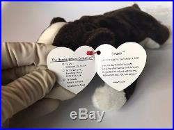 TY INC. Original Beanie Babies 1997 Bruno brown/white dog + 1999 Butch Lot RARE