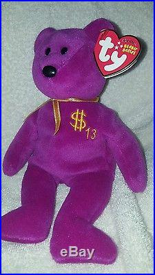 TY Inc BILLIONAIRE BEAR #13 Beanie Baby Signed Mint with tags SIGNED rare