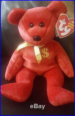 TY Inc BILLIONAIRE BEAR #9 Beanie Baby Signed Mint with tags SIGNED rare