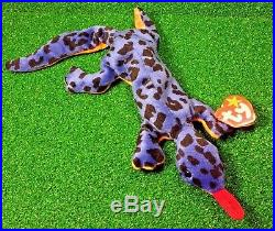 f5b86bf6697 TY LIZZY Lizard RARE 1995 Beanie Baby RETIRED PVC Plush SUFRACE Tush Typo  MWMT