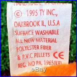 TY LIZZY Lizard RARE 1995 Beanie Baby RETIRED PVC Plush SUFRACE Tush Typo MWMT