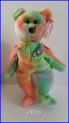 TY Peace Bear Beanie Baby, Rare Retired China 1996 Mint Condition bb b 27p