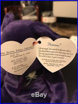 TY Princess Diana Beanie Baby RARE 1997 1st edition made in China P. E. Pellets