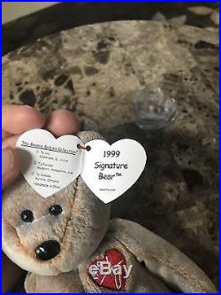 TY Signature Bear 1st Gen 1999 BEANIE BABY ULTRA RARE MINT With Tags RETIRED Error