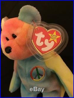 83da188e72a TY beanie baby Very Rare PEACE BEAR ORIGINAL. Collectible with TAG ERRORS