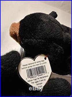 Ty BEANIE BABIES RARE 1ST EDITION PVC BLACKIE THE BEAR (ORiiGINAL/SUFACE) ERRORS