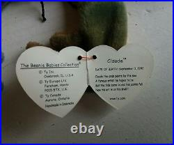 Ty Beanie Babies Baby Claude The Crab Very Rare