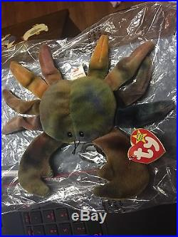 Ty Beanie Babies CLAUDE THE CRAB Ultra RARE Tag with ERRORS RETIRED (Mint)