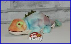 Ty Beanie Babies Collection 1997 IGGY Iguana Neon Tie Dye ERRORS RARE Retired
