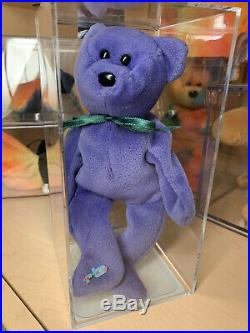 Ty Beanie Babies Employee Bear Violet Teddy MWMT Authenticated Baby Rare