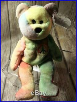Ty Beanie Babies Rare Retired PEACE w Tag Errors ORIGiiNAL/SUFACE 1st Edition