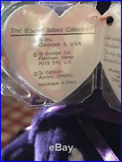 Ty Beanie BabyPRINCESS (Diana) Bear RARE 1st EDITION! 1997 PVC IMPECCABLE