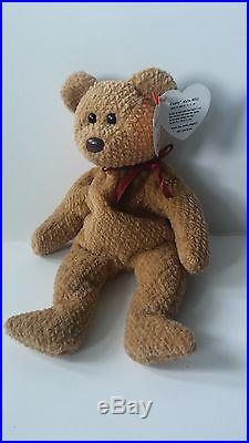 1163582944f Ty Beanie Baby 1996 CURLY BEAR with 4 errors