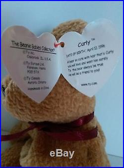 Ty Beanie Baby 1996 CURLY BEAR with very rare collectible hang tag error 3cba24a3bc4