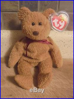 b56138eec92 Ty Beanie Baby 1996 Curly Bear with VERY RARE Collectible Swing Tag Errors