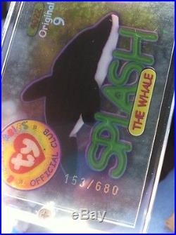 ca2ac6ea00b Ty Beanie Baby Babies Card ORIGINAL 9  7 SILVER 4022 Splash Whale 680 RARE