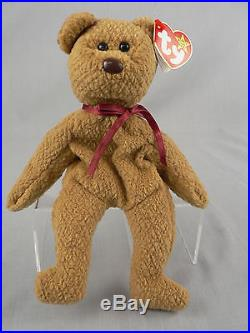 Ty Beanie Baby Curly Brown Teddy Bear with 17 Qualifying Rare Traits & Errors