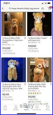 Ty Beanie Baby Hope Praying Bear With 2 Tag Errors SUPER RARE 1998 COA MWMTs