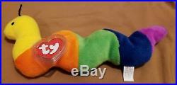 Ty Beanie Baby INCH THE WORM 4044 1ST EDITION RARE MINT Felt antennae